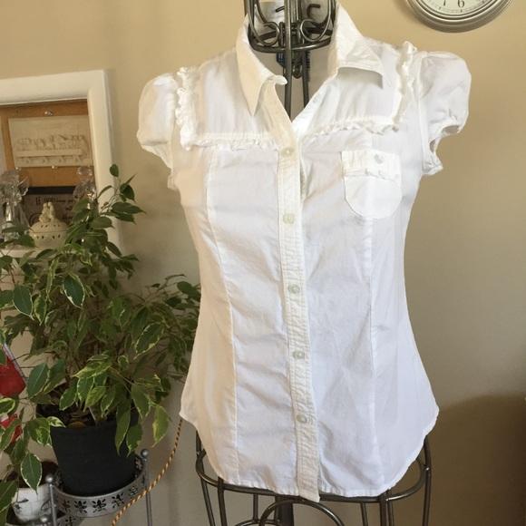 🌈3/20 Illegal Jeans basic white button down shirt